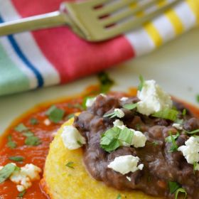Smokey Black Beans, Goat Cheese Polenta and Red Chili Tomato Sauce