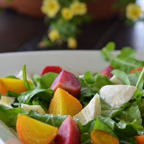 Food Day and a Roasted Baby Beet Salad with Arugula and Torn Mozzarella