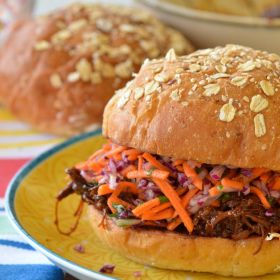 Pulled BBQ Chicken Burger with an Apple Cider Slaw