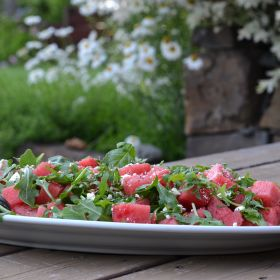 Watermelon and Arugula 4th of July Salad