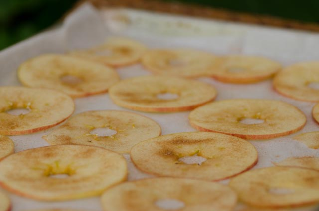 Slice apples and sprinkle with cinnamon sugar