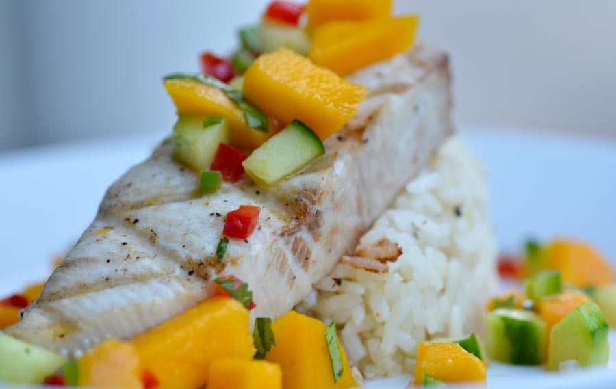 Grilled Mahimahi with mango salsa and jasmine rice
