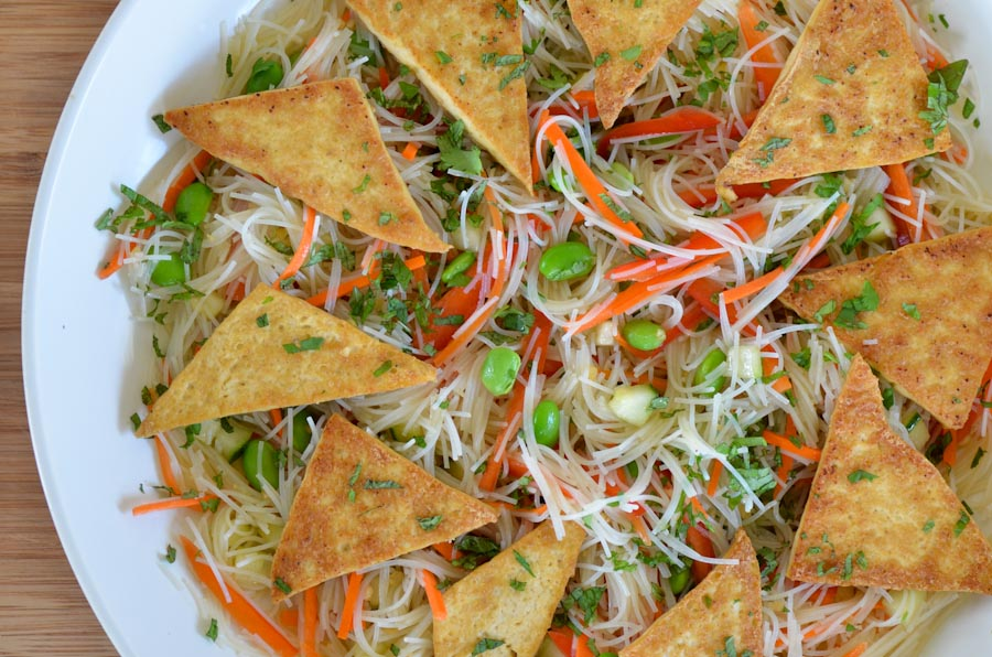 Tofu Rice Noodle Salad with Sesame Soy Vinaigrette