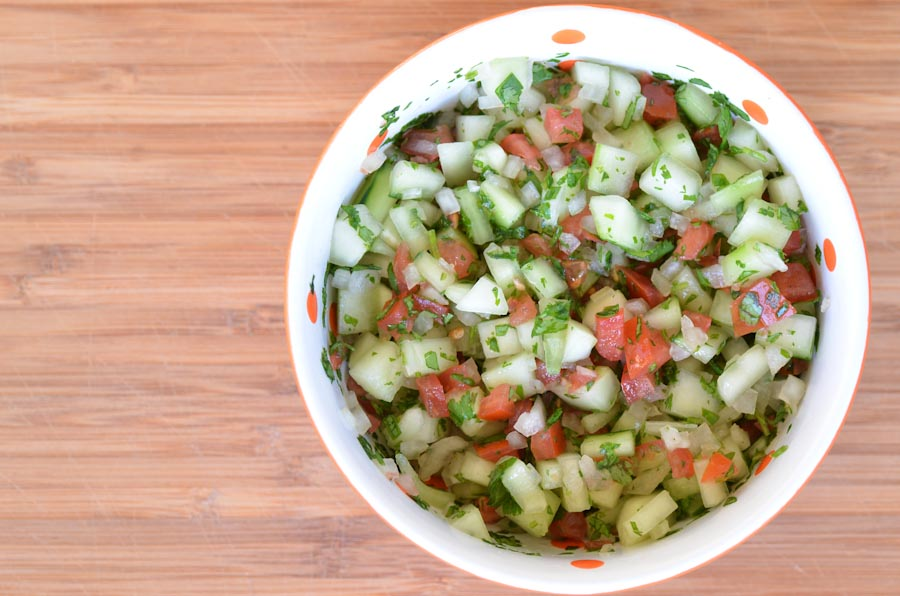 In a separate bowl, make a salsa with your cucumber, tomato, onion ...