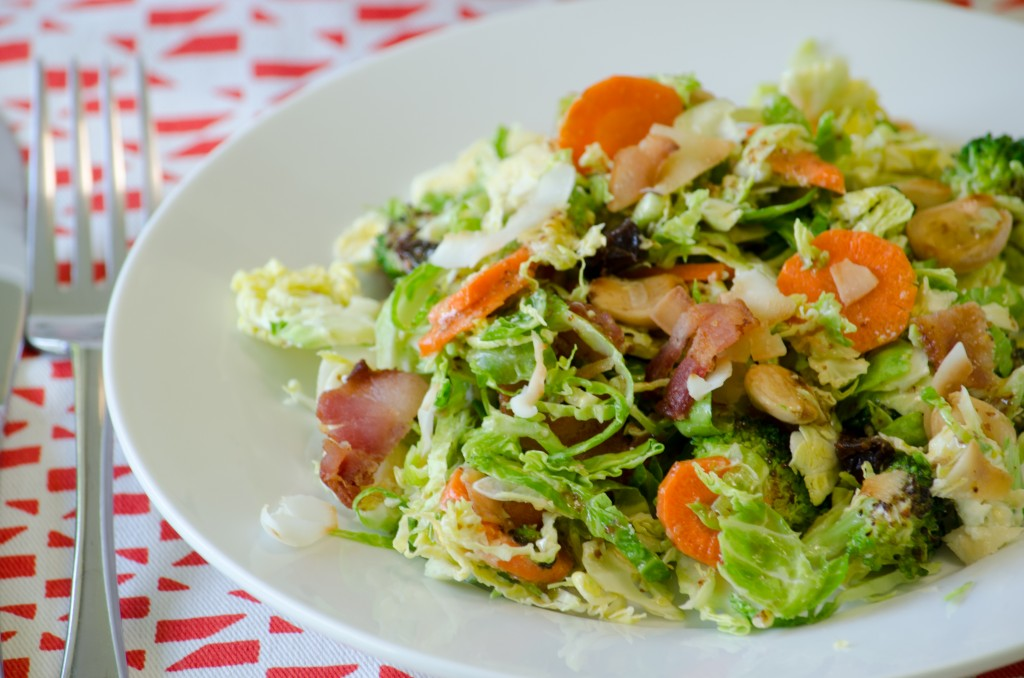 Shaved Brussel Sprout Salad with Maple Dijon Vinaigrette